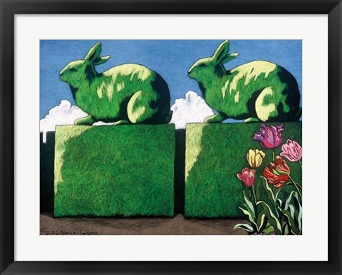 Framed Topiary Rabbits Print