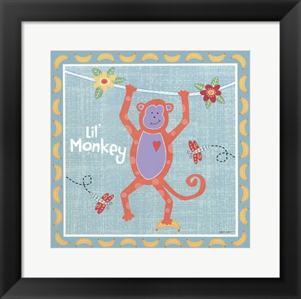 Framed Beetle & Bob Happy Monkey Print