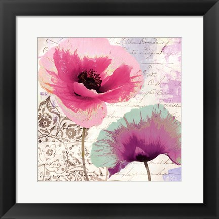 Framed Poppies And Paint II Print