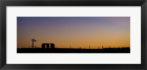 Framed Windmill Silhouette Print