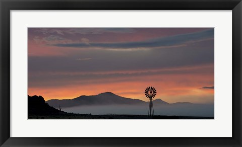 Framed Mountains and Windmill Print