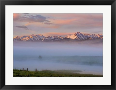 Framed Snow Capped Mountains Print