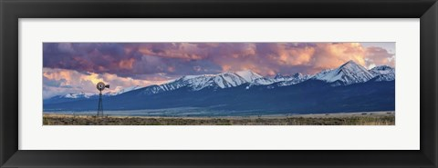 Framed Windmill Mountains Panorama Print
