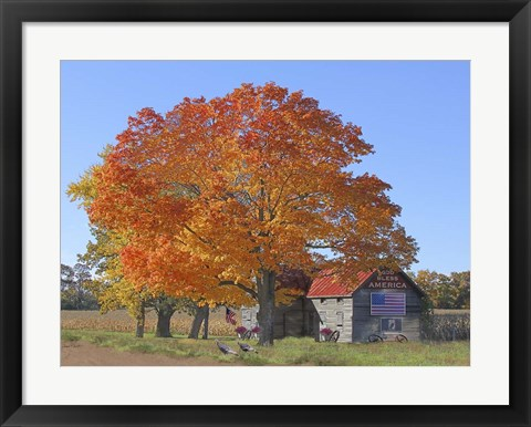 Framed God Bless - Fall with Turkeys Print