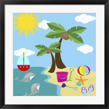 Framed Beach Time I Print
