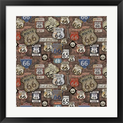 Framed Route 66 on Brick Print