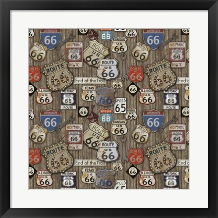 Framed Route 66 on Wood Print