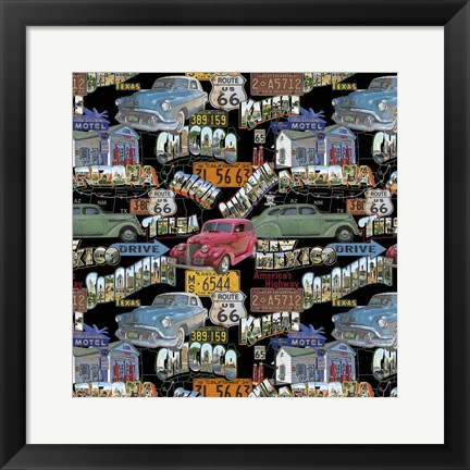 Framed Route 66 - Cars II Print
