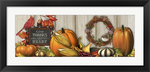 Framed Give Thanks with a Grateful Heart Print