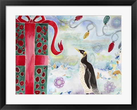 Framed Merry Christmas Penguin Print