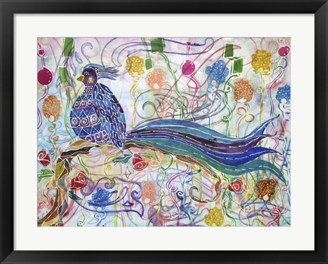 Framed Bird in the Roses Print