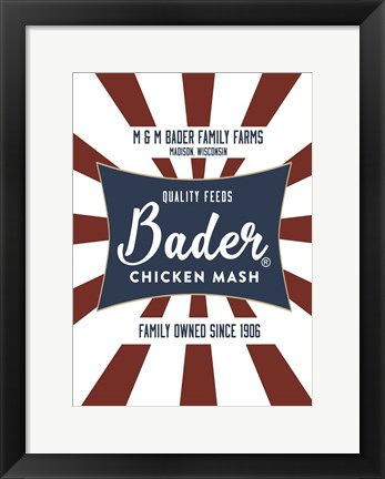 Framed Chicken Mash Feed Sack Two Print