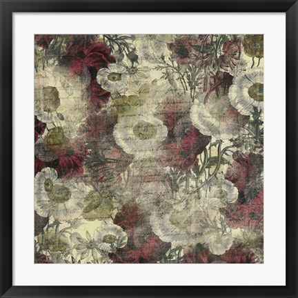 Framed Floral Boquet Scripty Collage Print
