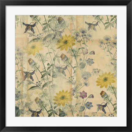 Framed Floral Collage Layered Papers Print