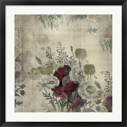 Framed Floral Collage White Space Print