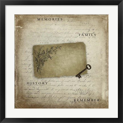 Framed Memories With Tag Key Print