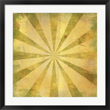 Framed Yellow Sunburst Grunge Print