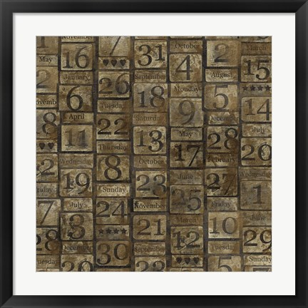 Framed Grungy Calendar Blocks Print