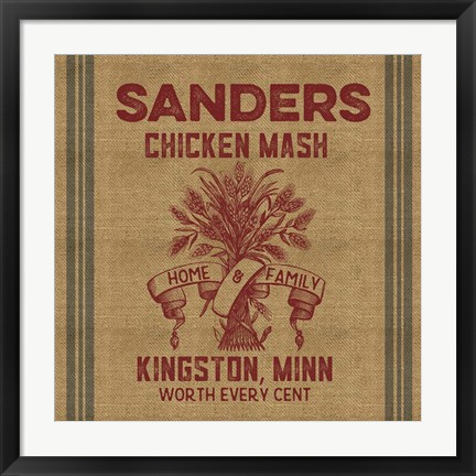 Framed Chicken Mash Feed Sack Print