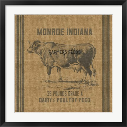 Framed Cow Feed Sack Print