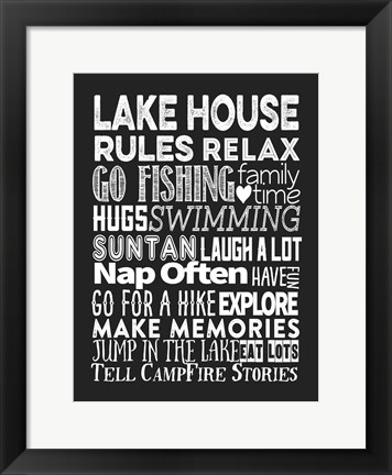 Framed Lake House Rules Print