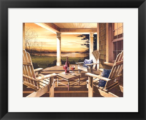 Framed Sunset With Wine Print
