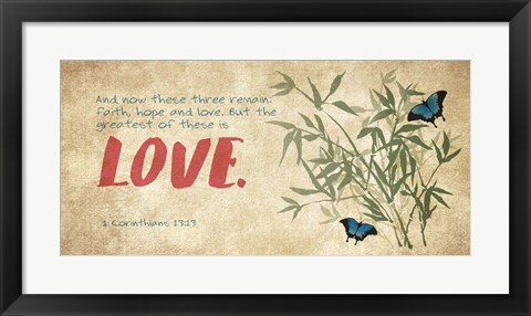 Framed 1 Corinthians 13:13 Faith, Hope and Love (Butterflies) Print