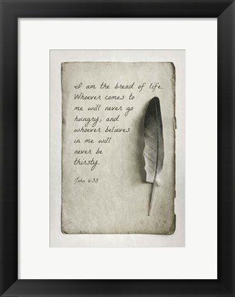 Framed John 6:35 I am the Bread of Life (Gray) Print