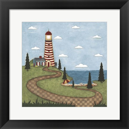 Framed Red And White Lighthouse Print