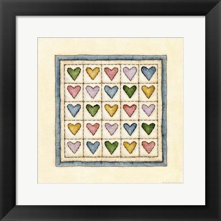 Framed Hearts Patchwork Print
