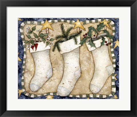 Framed Christmas Stockings Print