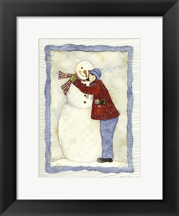 Framed Frosty Winter Hug Print