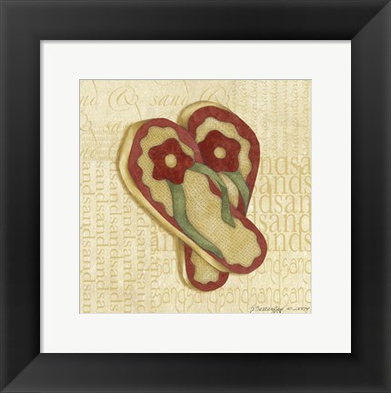 Framed Red Flowering Sandals Print
