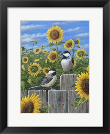Framed Chickadees And Sunflowers Print