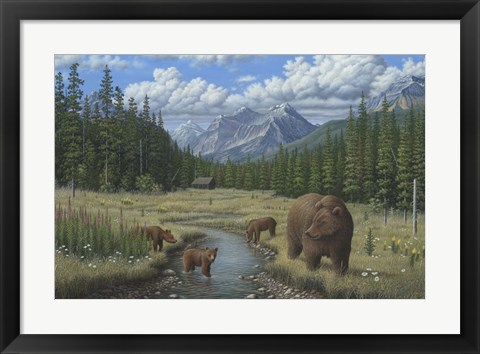 Framed Checking Things  Out - Grizzlies Print