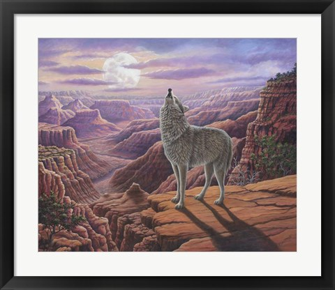 Framed Howling Wolf Print
