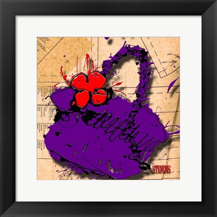 Framed Flower Purse Red On Purple Print