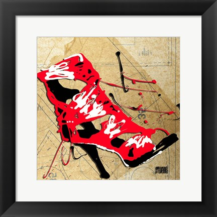 Framed Red Strap Boot Print