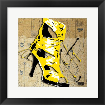 Framed Yellow Strap Boot Print