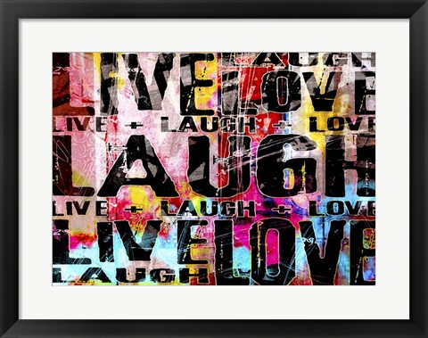 Framed Live Love Laugh Landscape Print