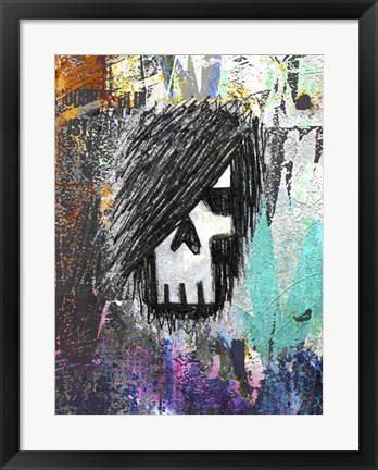 Framed Graffiti Sketch Skull Print