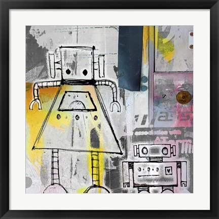 Framed Mum And Son Robots Print