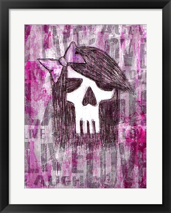 Framed Pink Skull Princess Print