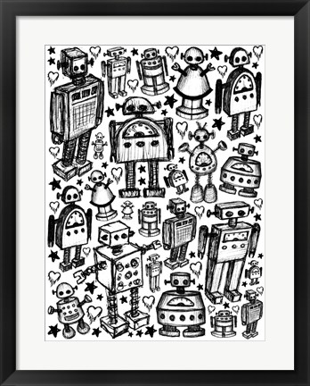 Framed Robot Crowd Print
