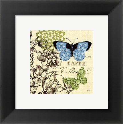 Framed French Butterflies Polka Dot Print