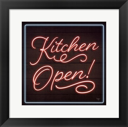 Framed Neon Kitchen Open Print