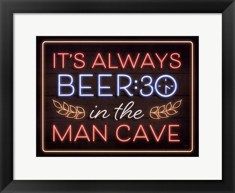Framed Neon Beer 30 Man Cave Print