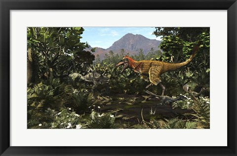 Framed Protofeathered Lythronax comes upon a Pair of Diabloceratops Print