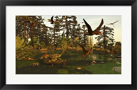 Framed Eudimorphodon And Peteinosaurus Pterosaurs In A Swampy Triassic Scene Print