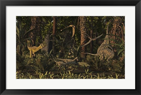 Framed Dinosaurs Of The Kayenta Formation Of Arizona About 193 Million Years Ago Print
